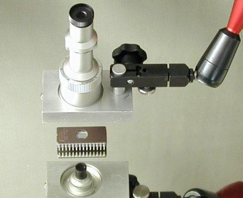 A compound microscope is set up in far-point adjustment with an
